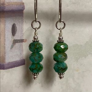 Turquoise green Czech glass earrings marquis wires